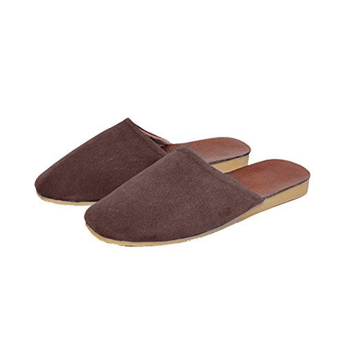 TELLW Summer Spring Autumn Winter Leather Home Slippers Leather Slippers No Damage Floor Mute Men Coffee 3Y6AsMcx