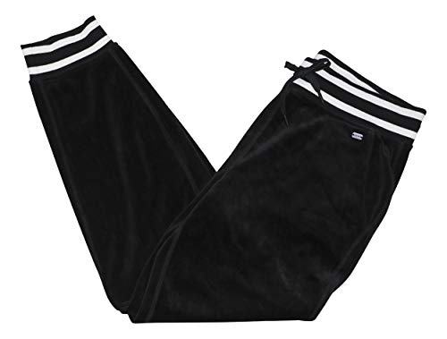(DKNY Velour Drawstring Waist Jogger Sweatpants (Black, Medium))