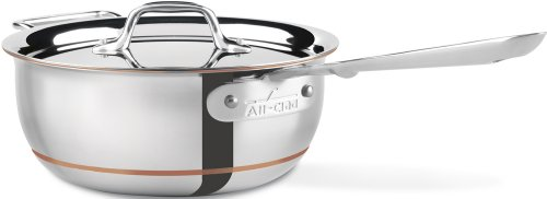 All-Clad 6213 SS Copper Core 5-Ply Bonded Dishwasher Safe Saucier / Cookware,  3-Quart, Silver