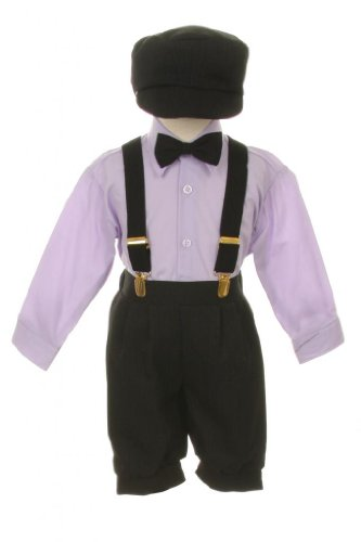 Vintage Dress Suit-Bowtie,Suspenders,Knickers Outfit Set for Boys-Toddler, Black-Lavender-2T