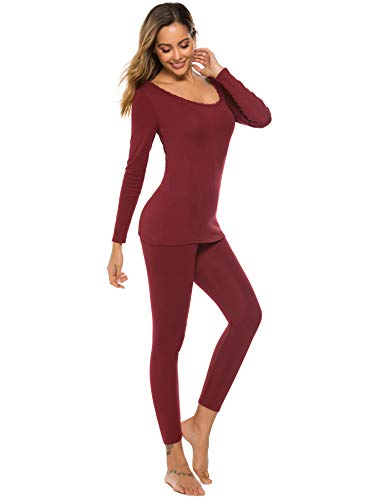 Lightweight Thermal Underwear Womens Henley Long Johns Set Base Layer Top & Bottom Wine Red (Best Lightweight Thermal Underwear)