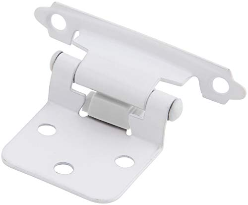 Silverline SH5001-WT Self Close Hinge Cabinet Hardware 20 Pack (10 Pairs) Face Mount Overlay Variable White Coated
