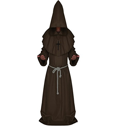 [Ainiel Men's Adult Monk Robe Cosplay Costume (S, Brown)] (Brown Monk Robe Costume)