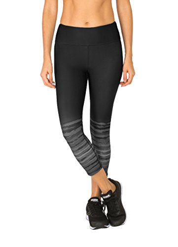 RBX Active Women's Tie Dye Border Printed Capri Black Combo XL