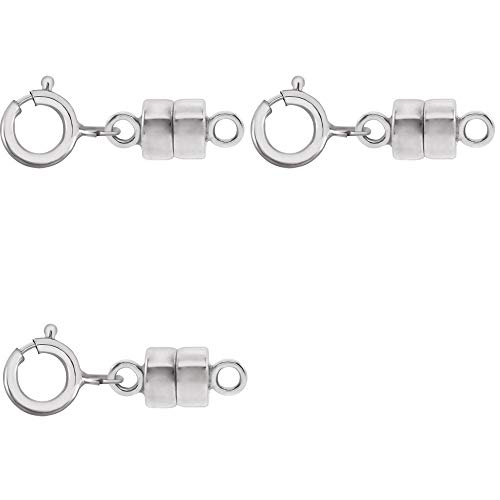 3 - New Solid 14K White Gold Round Magnetic Clasps w/ 14K White Gold 5mm Spring Ring Clasp for Necklaces, Bracelets, and Anklets. - Jewelry By Sweetpea ()