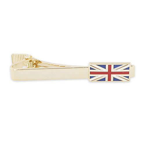 United Kingdom UK (Union Jack) British Flag Enamel Tie Bar + Cufflinks -- Gold & Silver Tone Available (Gold Tie (British Flag Cufflinks)