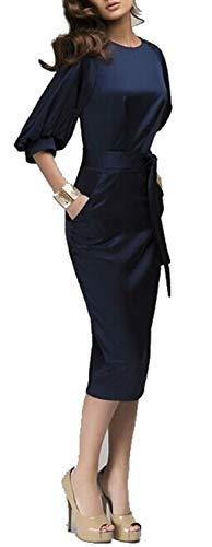 (Superhouse Womens Lantern Sleeve Navy Blue Wear to Work With Belt Dress Plus-Size (XX-Large, Navy))