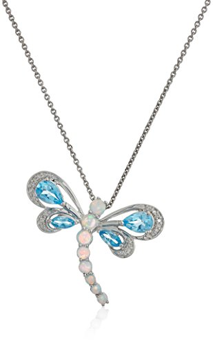 Opal and Blue Topaz Dragonfly Necklace