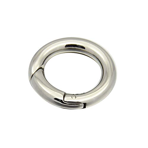 UNICRAFTABLE 10PCS 304 Stainless Steel Spring Loaded Gate Clips O Ring Carabiner Smooth Round Snap Clasps Trigger Keyring Buckle Keychain Hook Multipurpose for Handbags Purse Shoulder Strap 15x3mm