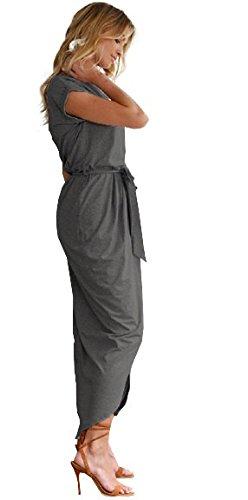 Vestido Cuello Estampado Vintage Redondo Pocket Mangas Casual de Verano Largo Sundress Playa Largo Vestido Gris pwYtxB1nq