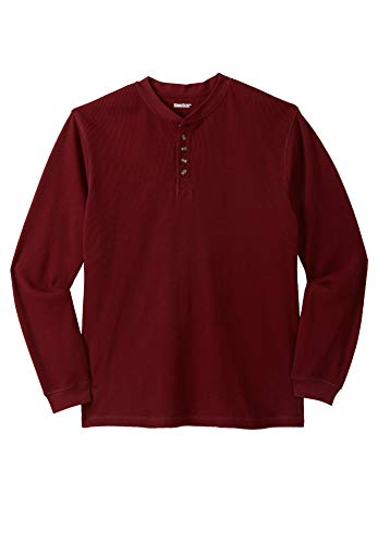 KingSize Men's Big & Tall Waffle Knit Thermal Henley Tee, Rich Burgundy ()