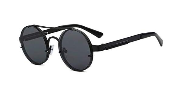fdf76fd89621 Amazon.com: Retro Steampunk Sunglasses Men Red Round Sun Glasses For Women  Vintage Metal Sunglass UV400 Shades 1156R Black Frame Grey: Sports &  Outdoors