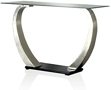Furniture of America Navarre Clear Glass Top Console Table in Chrome and Black