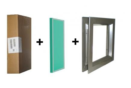 Air Louvers 24''(W) x 24''(H) Door Lite, Complete with Tempered Glass-Glazing, Mineral Bronze Finish