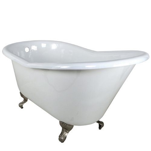 Kingston Brass Aqua Eden VCTND6030NT8 Cast Iron Slipper Clawfoot Bathtub with Satin Nickel Feet without Faucet Drillings, 60-Inch, White (Cast Iron Clawfoot Tub Feet)