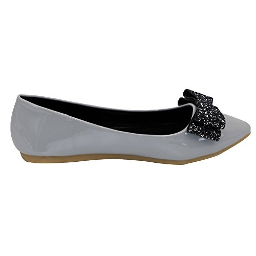 Soft No AalarDom with Sequin Flats Pointed Heel and Bowknot Gray Shoes Toe Material Womens wwAnSB