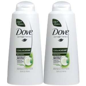 Dove Damage Therapy Cool Moisture Shampoo, Cucumber/Green Tea, 25.4-Fluid Ounces (750 ml) (Pack of 2) (Therapy Green Tea)