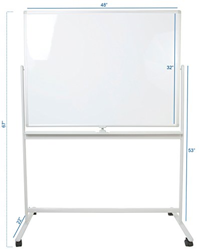 VIVO Mobile Dry Erase Board 48'' x 32'' Double Sided Magnetic Whiteboard Aluminum Frame Rolling Stand (CART-WB48A) by VIVO (Image #1)'