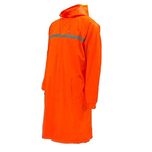 RK Rain Wear Men's Waterproof Long Raincoat PVC Trench Coat, Orange, (Orange Raincoat)