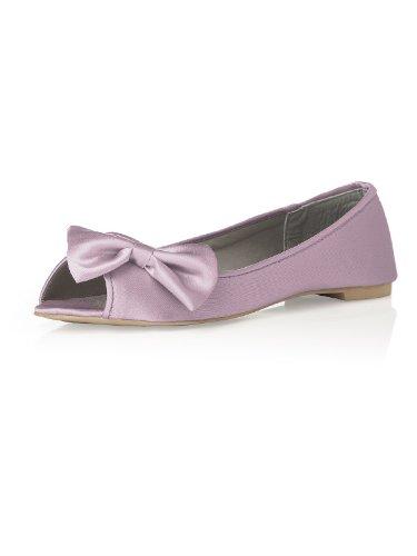 Women's Satin Peep Toe Bridal Ballet Flats by Dessy - Suede Rose - Size (Ballet Peep Toe Flats)