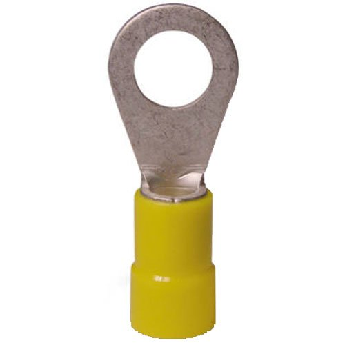 [Gardner Bender 10-106 Terminal Ring, Vinyl-Insulated Barrel, Crimp-type, 12-10 AWG, Stud Sz. 8-10, 50 Pk., Yellow] (Vinyl Ring Terminal)