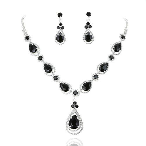 - SP Sophia Collection Women's Elegant Crystal Teardrop Statement Necklace Dangle Earring Set in Black