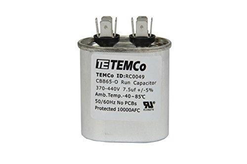 TEMCo 25 LOT Motor Run Capacitor RC0071-7.5 mfd uf 370/440 V VAC volt 7.5 uf Oval HVAC TEMCo AC Electric by Temco (Image #3)