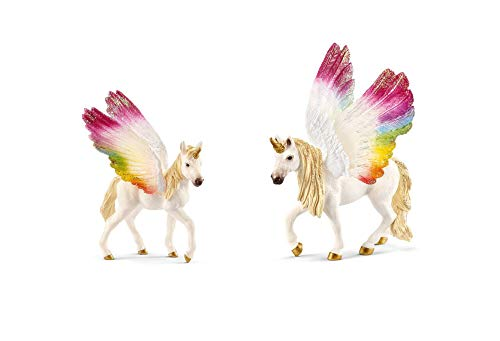 Schleich Bundle of 2 Rainbow Winged Unicorns: Mare and Foal