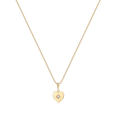 Valloey Tiny Heart Necklace Dainty Hamemade 14K Gold Fill Cute Lucky Cross Hexagon Cubic David of Star Necklace for Women Mother's Day Jewelry - David Necklace Of Heart Star