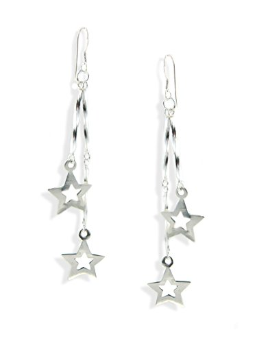 Sterling Silver Dangly Stars Drop Earrings 79VQEHquL