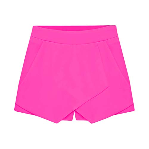 (Botrong Women's Plain Front Tights Casual Pants Shorts (Hot Pink,M))