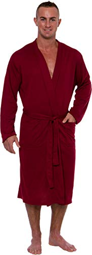 Ross Michaels Men's Lightweight Robe - Luxury Knit Sleep Jersey Bathrobe w/Tie Waist (Dark Red, - Jersey Robe Cotton