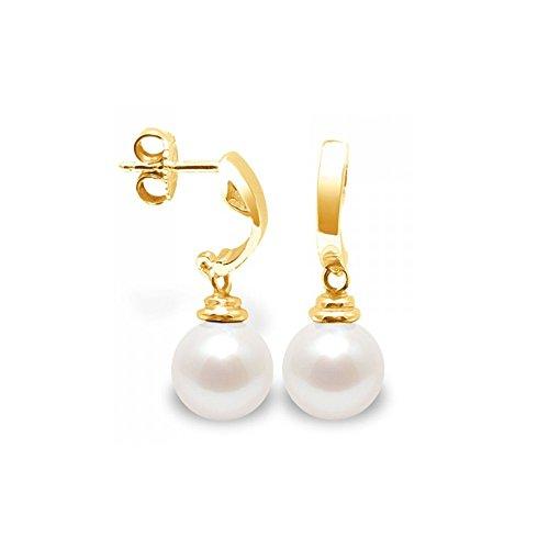 Boucles d'Oreilles Perle de Culture d'eau douce Blanche et or jaune 375/1000 -Blue Pearls-BPS K344 W