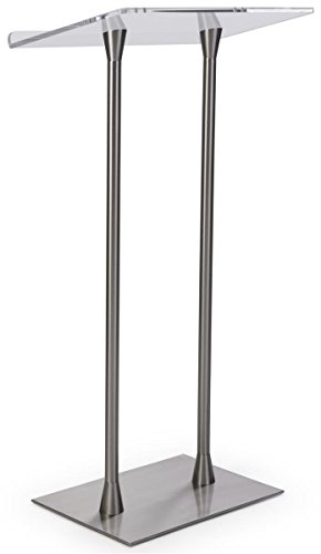 (Displays2go Acrylic Podium with Steel Poles, Rectangular Base, Steel, Acrylic - Silver, Clear (LECTCHR2PL) )