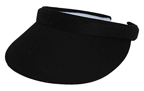 TopHeadwear Sports Cotton Twill Clip-On Visor - Black Cotton Twill Long Visor