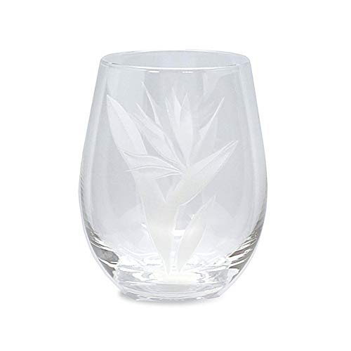 4 Etched Stemless Wine Glasses Bird Of Paradise