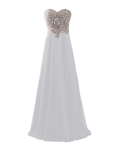 Chiffon Satin Corset - Erosebridal Sweetheart Long Prom Dress with Gold Embroidery White US18W