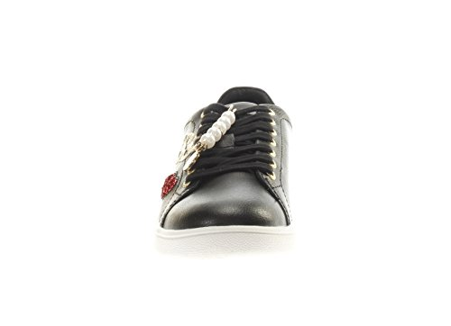 GUESS Zapatillas de Piel Lisa Para Mujer Negro Schwarz, Gold, Rot
