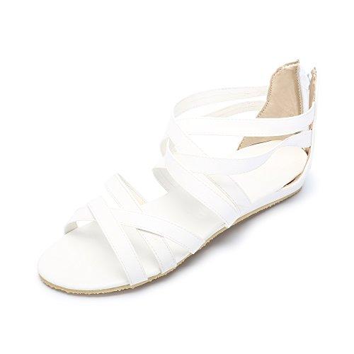 Hueco sandalias romanas ocasionales en verano yardas grandes Blanco
