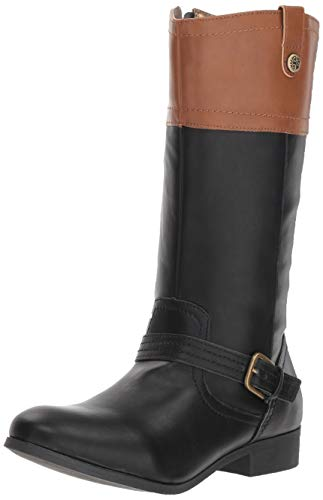 Nine West Girls' EMILIAH Equestrian Boot Black/tan M110 M US Toddler