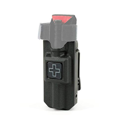 RIGID TQ Tourniquet Case for Generation 7 C-A-T Tourniquet, Belt (Tek-Lok) Attachment, Black with GRAY CROSS. (Tourniquet Not Included) Black Pvc Holster Case