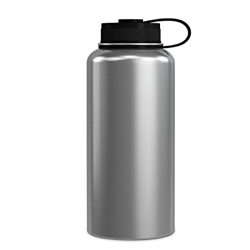 (GEO 32oz Double Wall Vacuum Insulated Stainless Steel Leak Proof Sports Water Bottle, Wide Mouth w/BPA Free Screw Cap (Stainless Steel))