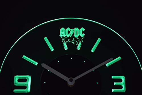 Time2LightUp ACDC AC/DC Rock n Roll Bar Beer 10 Inches Circle Led Illuminated Wall Clock Green