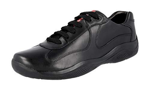 Prada Men's 'America's Cup' Calf Leather Trainer Sneaker, Black 4E2043 (10.5 US / 9.5 ()