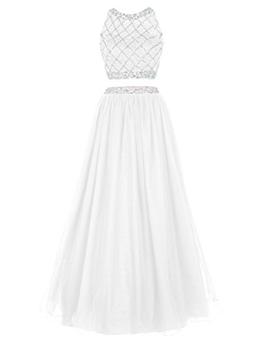 DRESSTELLS Long Prom Dress 2016 Two Pieces Tulle Evening Gowns With Beads White Size 12 by DRESSTELLS