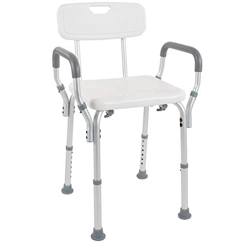 Sale!! Vive Shower Chair with Back – Handicap Bathtub Bench with Padded Armrest for Disabled, Seniors, Elderly – Adjustable Medical Bath Stool Spa Seat with Handle Pads for Bariatrics – Non Slip Tub Safety