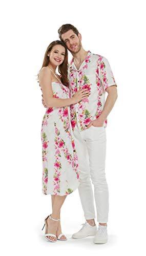 Couple Matching Hawaiian Luau Party Outfit Set Shirt Dress in Pink Hibiscus Vine Men 2XL Women XL