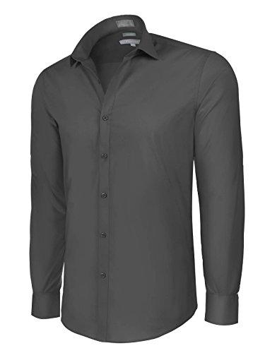 Platino de Marquis Slim Fit Cotton/Spandex Dress Shirt - Black Large (16-16.5) 34/35 (Cotton Lycra Dress)