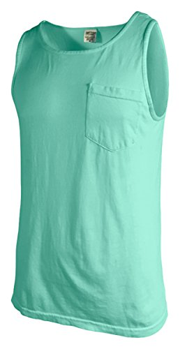 Comfort Colors Men's Preshrunk Left Chest Pocket Tank Top, Island Reef, Large