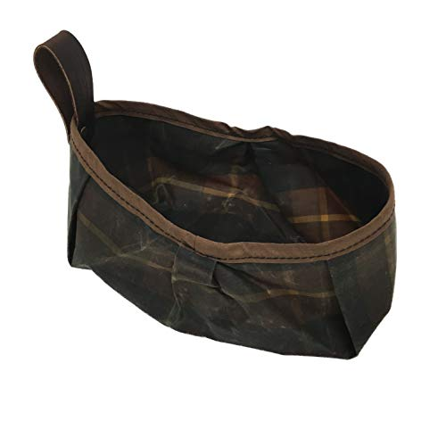 Belmont Blanket Dog Water Feed Bowl -Handsewn in Portland, USA | Classic Brown Scottish Tartan with Hot Orange Trim